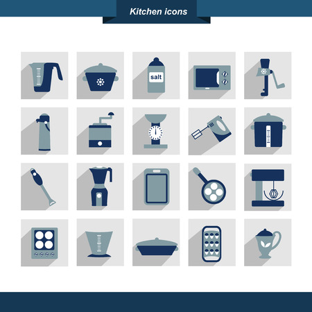 fryer: Kitchen instrument set  Collection of cooking tools  Shapes can be used for restaurant menu flyer  Vector illustrator design