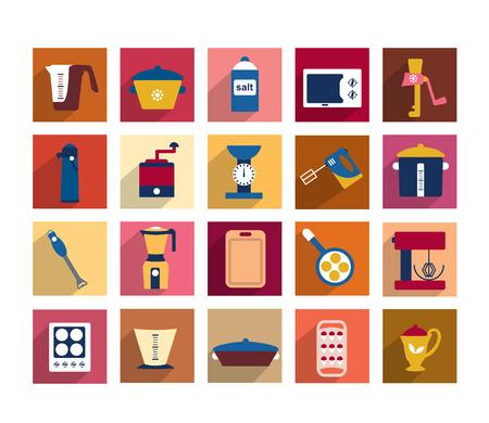 Keuken instrument set Verzameling van kookgerei vormen kan worden gebruikt voor restaurant menu flyer Vector illustrator ontwerp Stock Illustratie