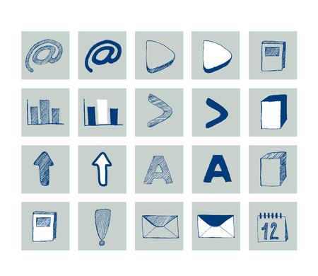 Set of hand drawn web icon   Vector
