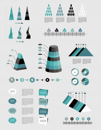 Infographics elements  Folder with diagrams, speech bubbles and graphs   Vector
