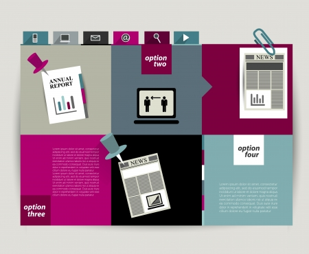 publisher: Brochure folder leaflet with colored text fields   Illustration