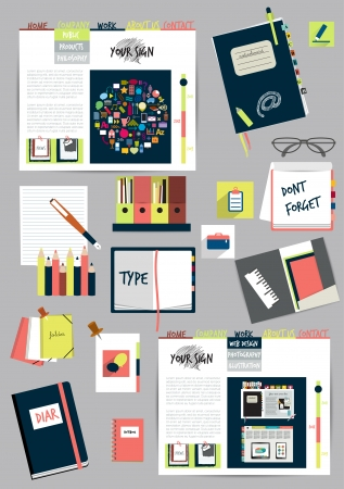 Work office web layout  Colorful graphic template  Folder, sticker, tab, data, bubbles set  Vector background