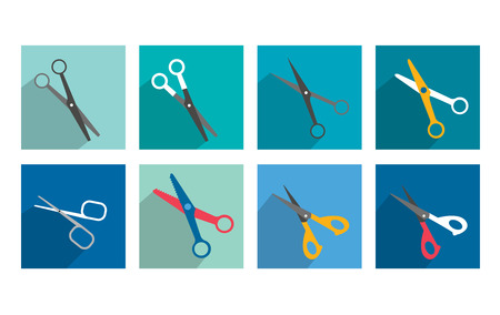 colection: Different scissors set flat shadow icon   Illustration
