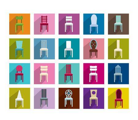 silla de madera: Colecci�n de la moderna ilustraci�n silla sombras icono plana Vector