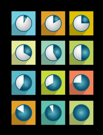 quarters: Time icon collection   Illustration