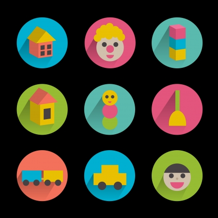 Collection of colorful children flat icon   Vector