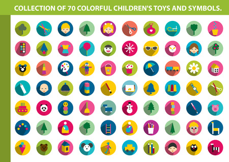 Collection of colorful children flat icon  70 shapes of children toys, symbols, games and animals