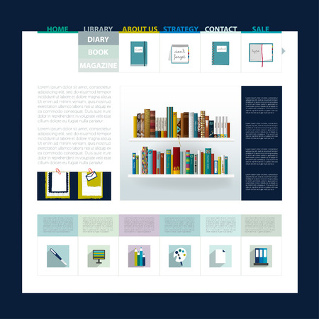 Website template design  Blog sample page Can be used for book shop