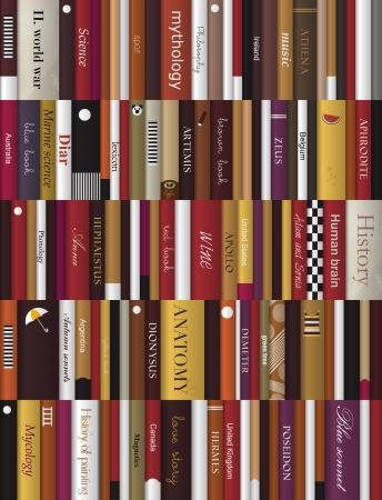 book shelves: Books background  Realistic vector illustration