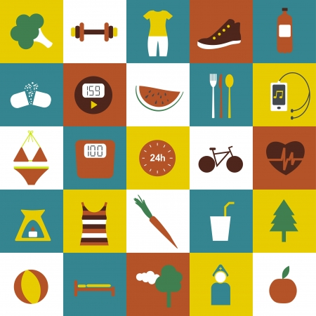 Slim and fitness icon collection  Vector