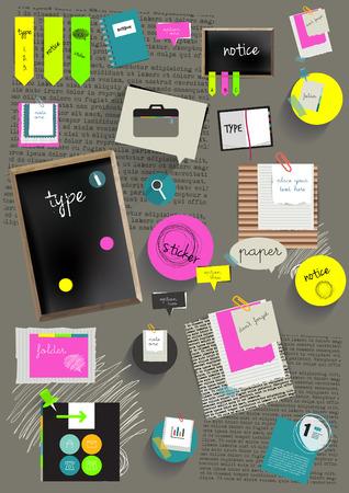 Work office web layout Colorful graphic template Folder, sticker, graph, tab, data, black board, bubbles set Vetores