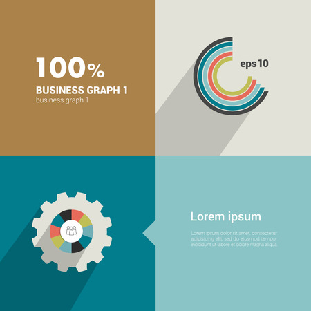 Square flat infographic template  Modern minimalistic diagram design  Vector
