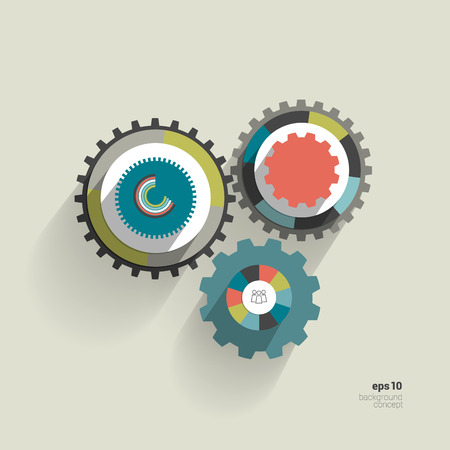 Cog wheel circle flat diagram for info graphic  Trend color template