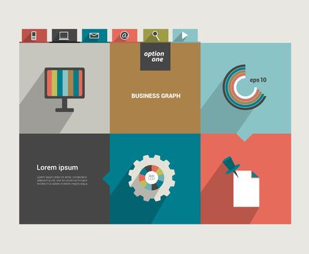 module: Square flat infographic template  Modern minimalistic diagram design  Illustration