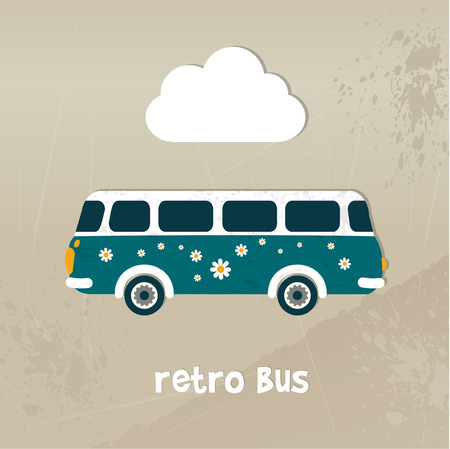 Retro bus concept paper vintage card  Vector