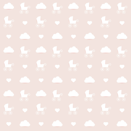Minimalistic repeat kids wall paper decor  Soft pink color background   Vector