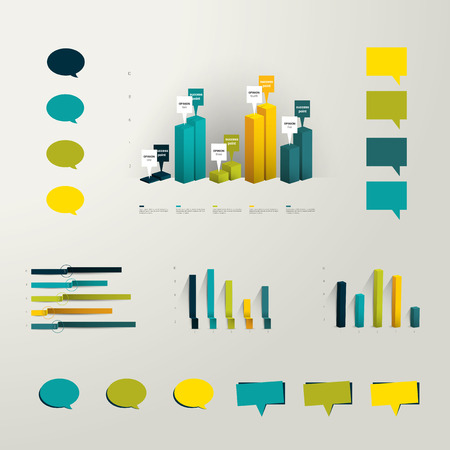 d data: Info graphic set elements  Collection of plastic 3D graphs and minimalistic speech bubbles for print or web page