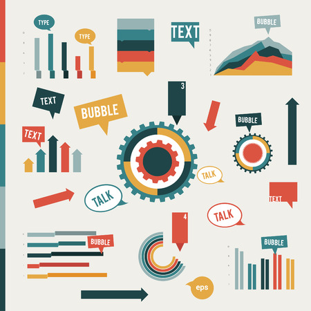 Collection of flat info graphic elements  Graphs, speech bubbles, cog wheel diagrams and arrows  design template for print or web page   Vector