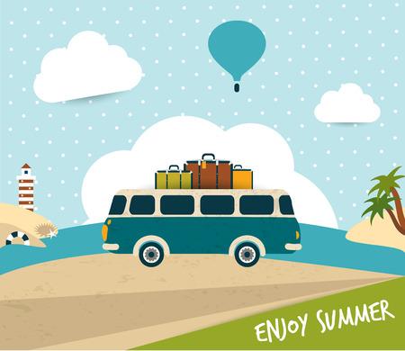 Retro bus  Summer trip concept   Vector