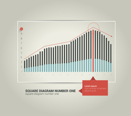 Exclusive business flat graph Trend chart can be used for info graphics presentation, catalog design, annual report, brochure layout, web page, cover concept  Minimalistic progressive diagram,scheme   Vector