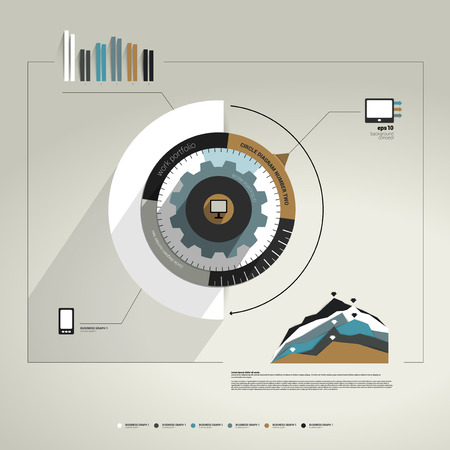 catalog templates: Exclusive circle flat info graphic diagram  Business cog wheel template concept for brochure