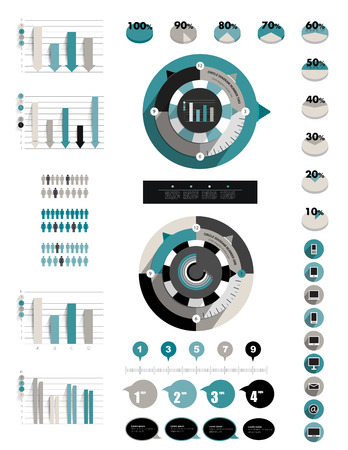 Infographic flat collection of charts, diagrams, schemes, circle modules, speech bubbles, graphs   Stock Vector - 27149491