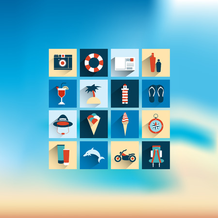Summer flat icon on blur background illustration   Vector