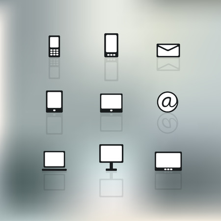 Communication flat icon on blur  Vector