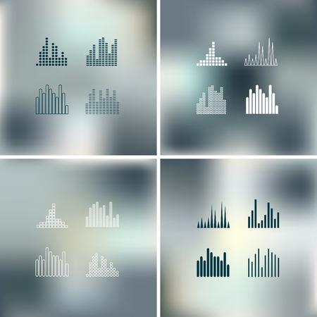 wawe: Sound wave shapes on blur background   Illustration