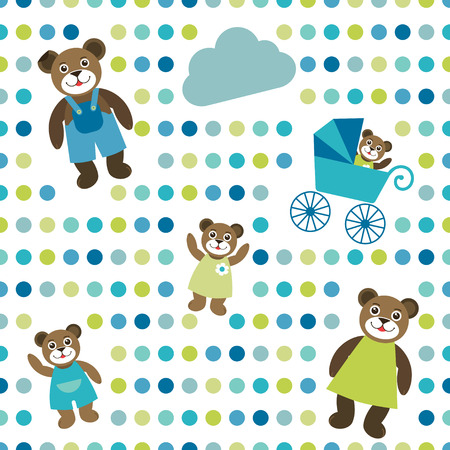 Colorful flat repeat wall paper polka dot with bear family design   Vector