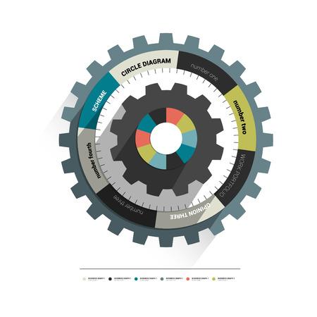 Cog wheel circle diagram for info graphic  3D scheme template