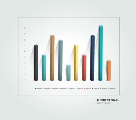 bar graph: Example of business 3 D design graph  Infographics chart