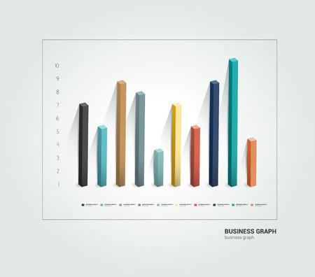 bar chart: Example of business 3 D design graph  Infographics chart