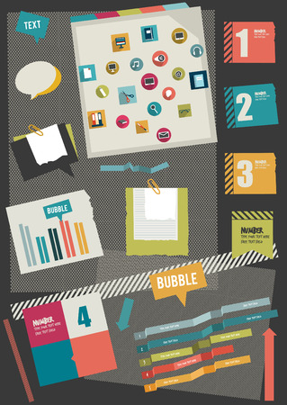 Work office web layout  Colorful graphic flat template  Folder, sticker, graph, tab, data, icons, shapes, ribbons, arrows, bubbles set  Vector background   Vector