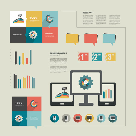 catalogs: Infographics flat design  Elements for catalogs, annual reports, brochures, magazines