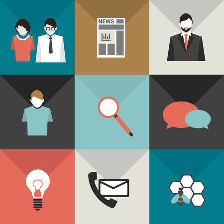 inovation: Collection of business flat icons  Team work, leadership, discussion, innovation, contact hard working, client, newspaper shapes  Vector color pictogram   Illustration