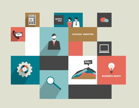 planning diagram: Infographics flat box diagram  Business concept  Simply minimalistic editable network scheme  Vector background