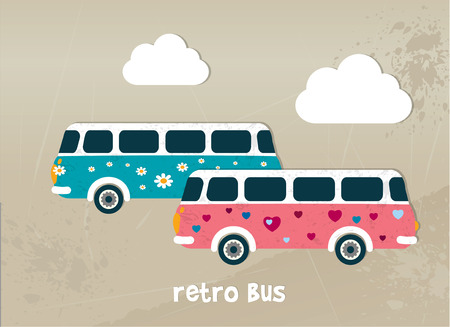 Retro bus concept  Hippy color flat design   Vector