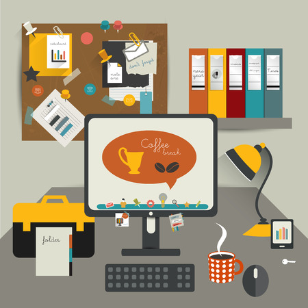 work table: Work office table  Flat design vector illustration  Table with computer, folders, noticeboard, coffee cup, lamp  Modern simply illustration  Work pause concept