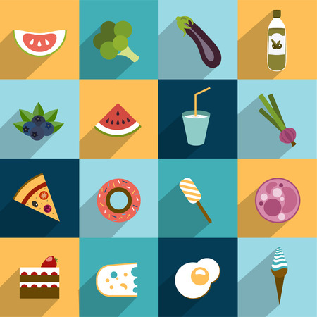Collection of diet and fat food  Fruit, vegetable, cakes, sweets set   Vector