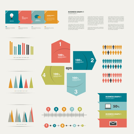 Collection of flat infographics elements   Vector