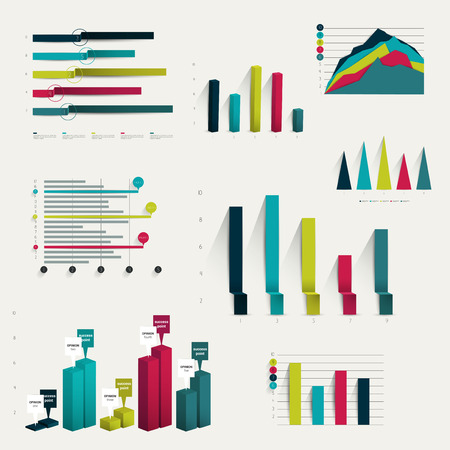 3d dimensional: Set of business flat, 3D design graph  Infographics charts   Illustration