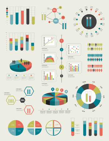 Flat infographic collection of charts, graphs, speech bubbles, schemes, diagrams  Trend color set  Chemistry, flask concept