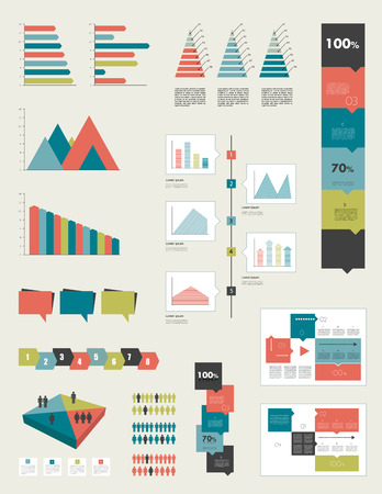 schema: Flat infographic collection of charts, graphs, speech bubbles, schemes, diagrams  Trend color set  Rectangle design