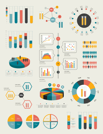 Flat infographic collection of charts, graphs, speech bubbles, schemes, diagrams  Trend color set  Chemistry, flask concept   Stock Vector - 27602350