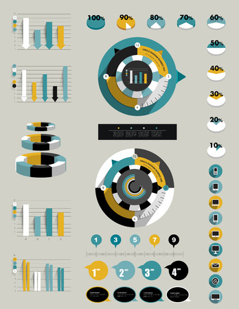 bussines: Flat infographic collection of charts, graphs, speech bubbles, schemes, diagrams  Trend color set  Circle, round design