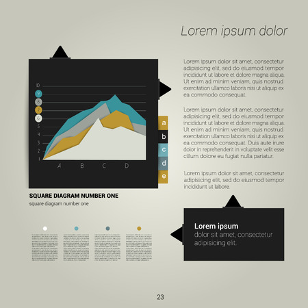 Modern flat page layout with text and graph  Web page or print template can be used for annual report or brand business communication   Vector
