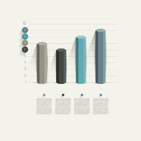 Example of business hexagonal column design graph  Infographics chart   Stock Vector - 27602382