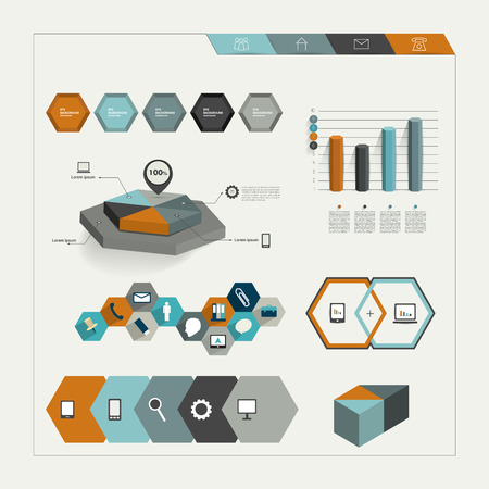 3 d illustrations: Set of hexagonal infographic elements   Illustration