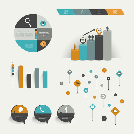 visualisation: Infographics elements  Folder with diagrams, speech bubbles, sign and graphs   Illustration